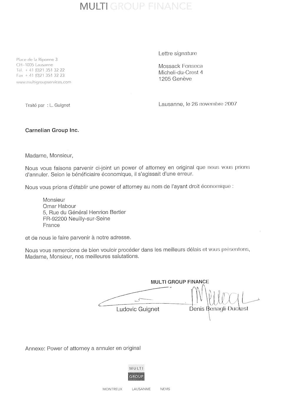 Copie de la correspondance adressée par Multi Group Finance, agissant pour le compte de Najat Arafat, au cabinet Mossack Fonseca l'instruisant de donner pouvoir à Omar Habour pour la gestion de la société Carnelian Group Inc. LE DESK