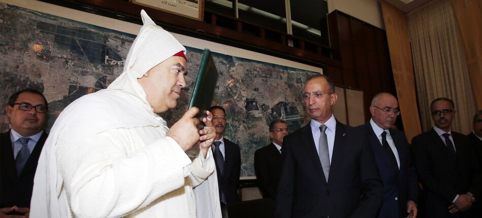 Cérémonie d'Installation de Abdelouafi Laftit, wali de la région Rabat-Salé-Kénitra, gouverneur de la préfecture de Rabat aux côtés de Mohamed  Hassad, ministre de l'Intérieur, en octobre 2015. MAP