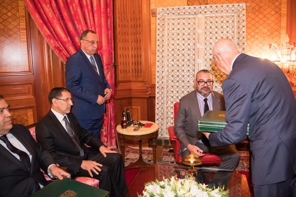le roi a reu le chef du gouvernement le ministre de lintrieur et le premier prsident de la cour des comptes en prsence de fouad ali el himma